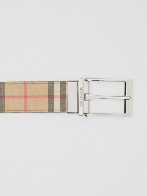 Reversible Vintage Check E-canvas and Leather Belt in Archive Beige/black - Men | Burberry - cell image 1