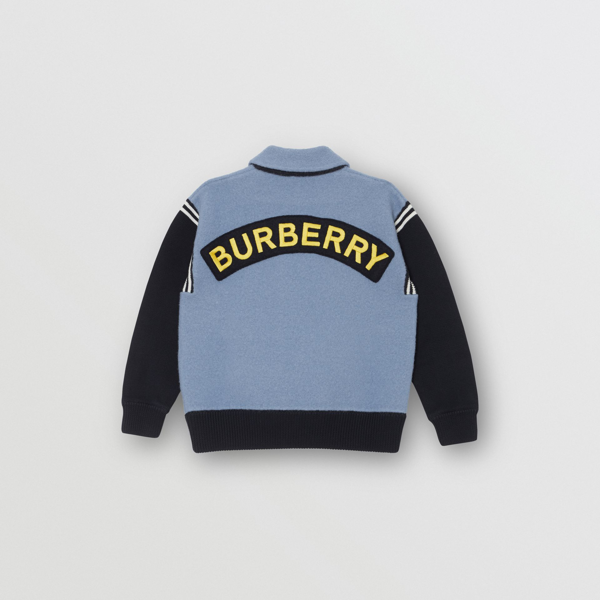 Patch Detail Merino Wool Blend Varsity Jacket in Dusty Blue | Burberry - gallery image 3