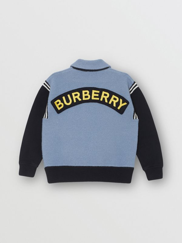 Patch Detail Merino Wool Blend Varsity Jacket in Dusty Blue - Children | Burberry - cell image 3