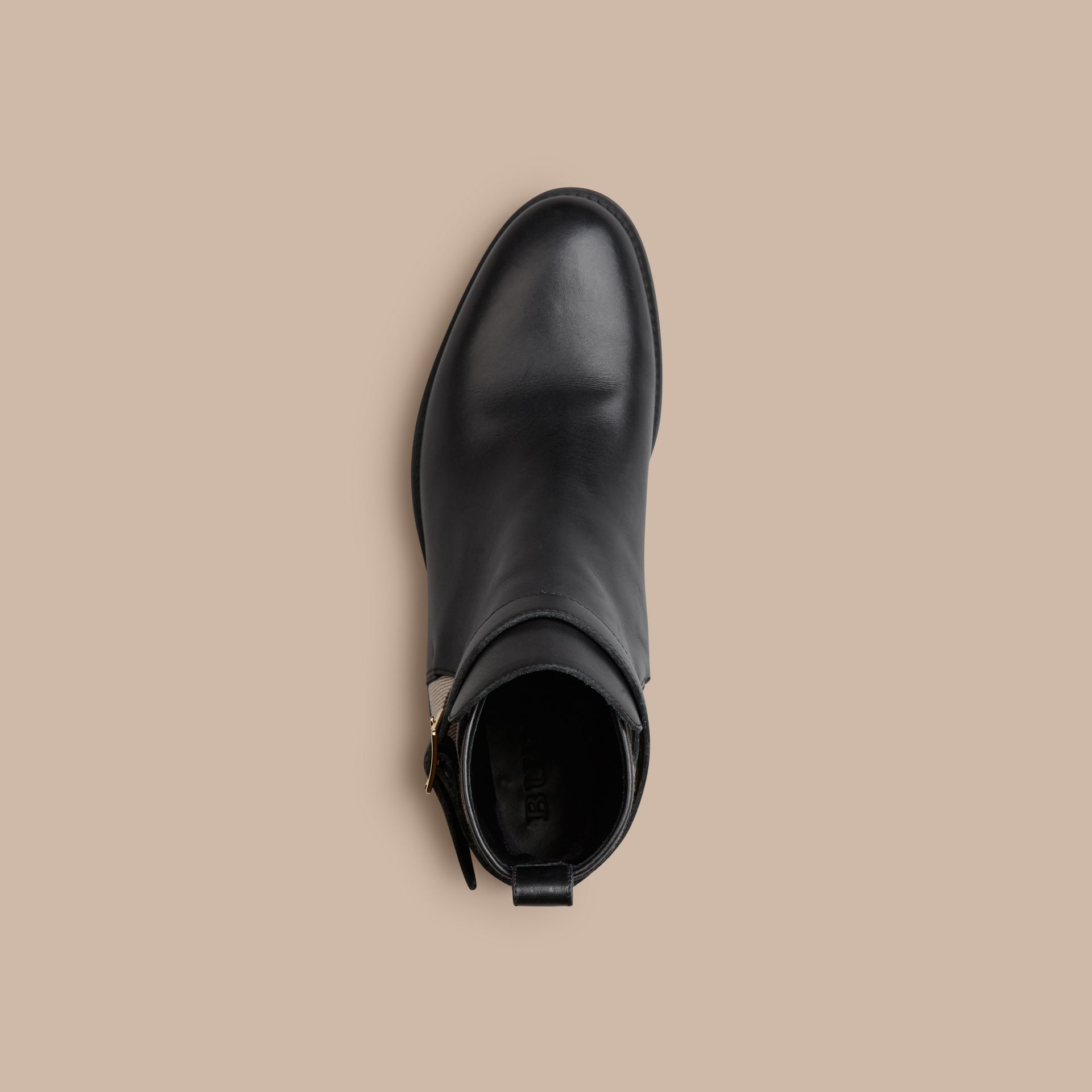 Black House Check Leather Ankle Boots Black - gallery image 3