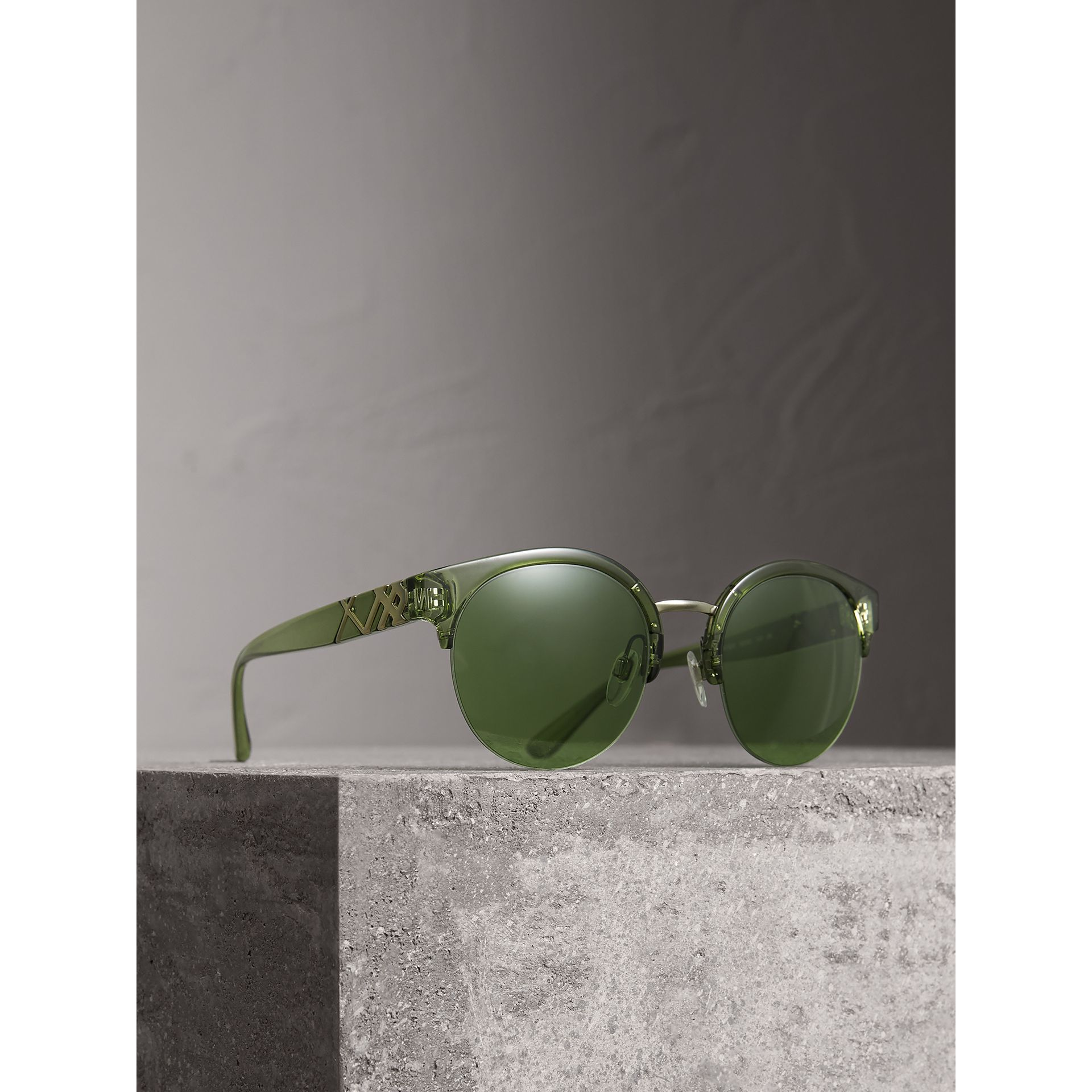 Check Detail Round Half-frame Sunglasses in Smokey Green - Women | Burberry - gallery image 1