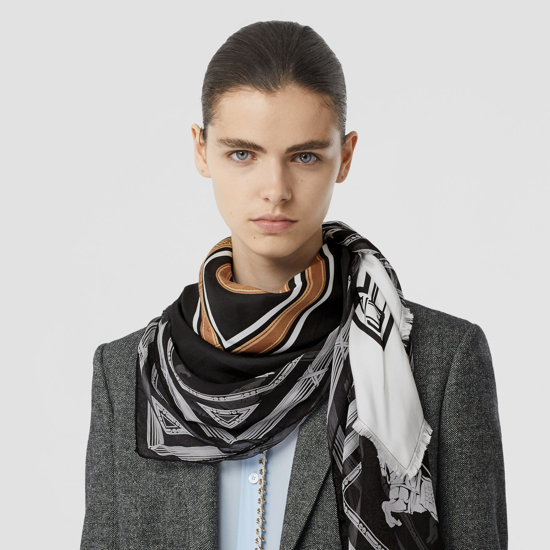Archive Scarf Print Silk Square Scarf in Black/white | Burberry - gallery image 2
