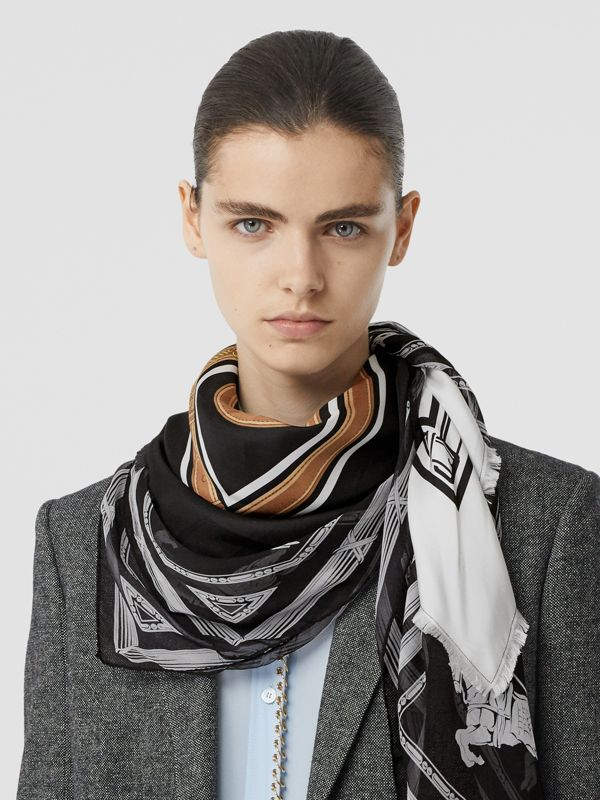 Archive Scarf Print Silk Square Scarf in Black/white | Burberry - cell image 2