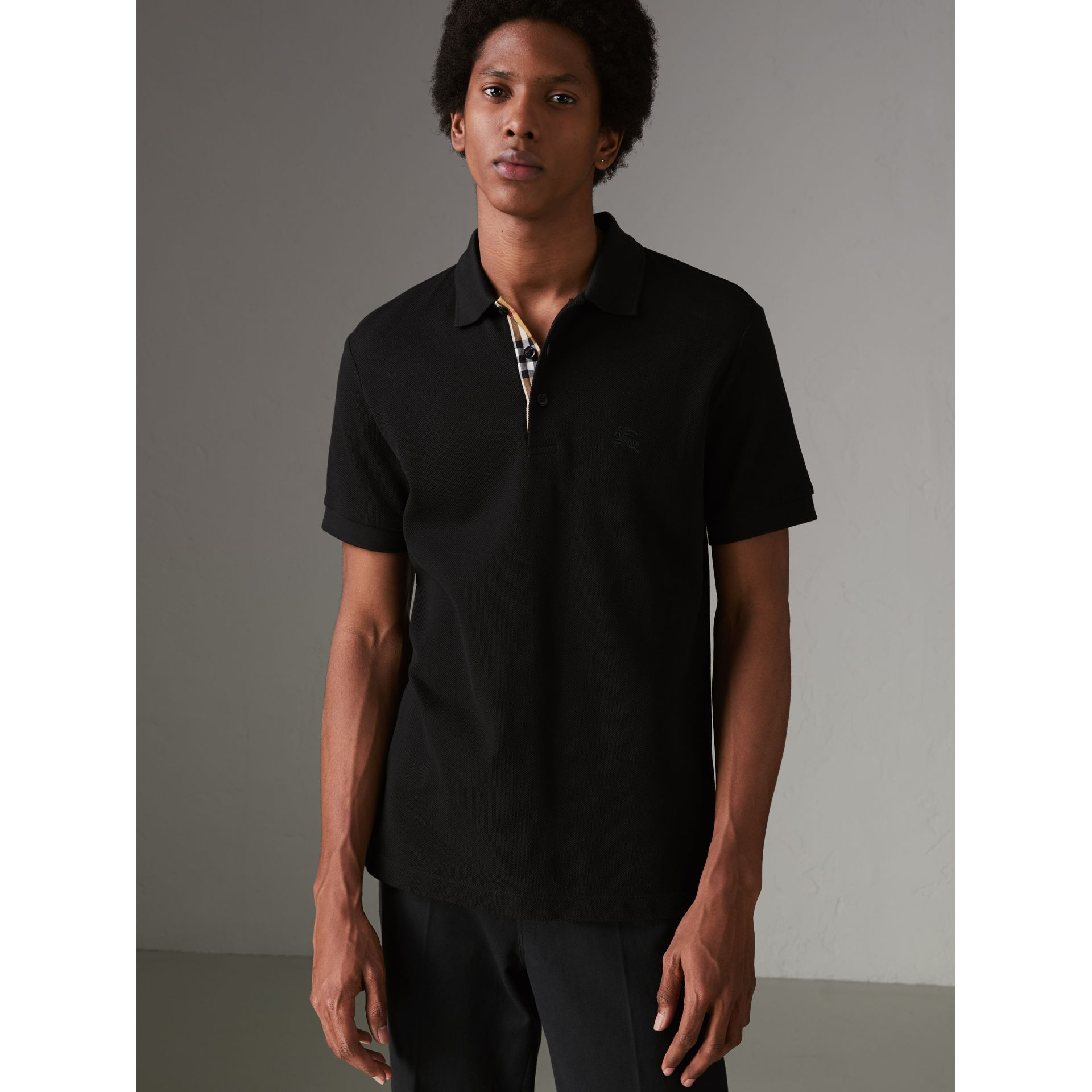 Check Placket Cotton Polo Shirt in Black - Men | Burberry Canada - gallery image 4