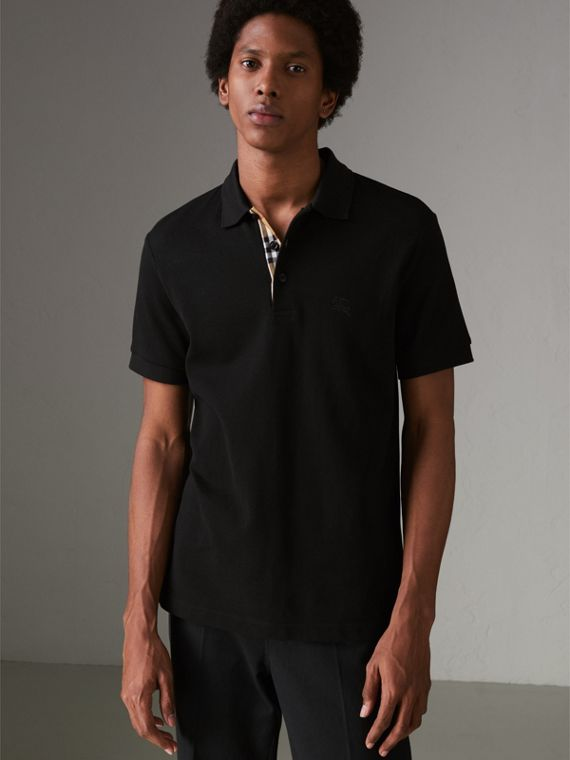 Check Placket Cotton Polo Shirt in Black
