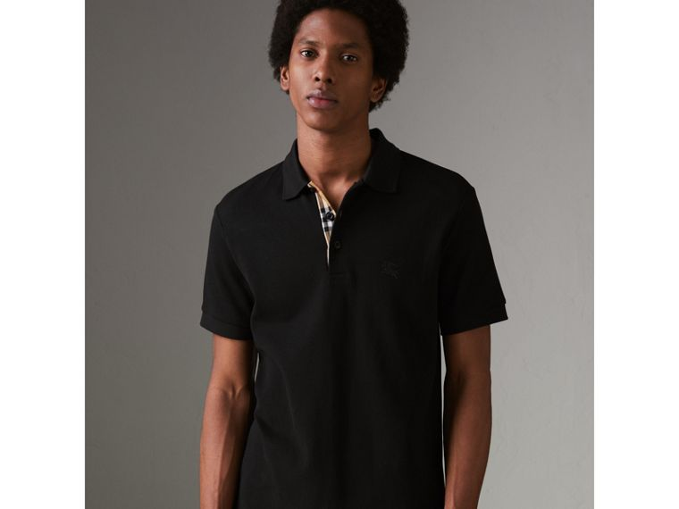 Check Placket Cotton Polo Shirt in Black - Men | Burberry United Kingdom - cell image 4