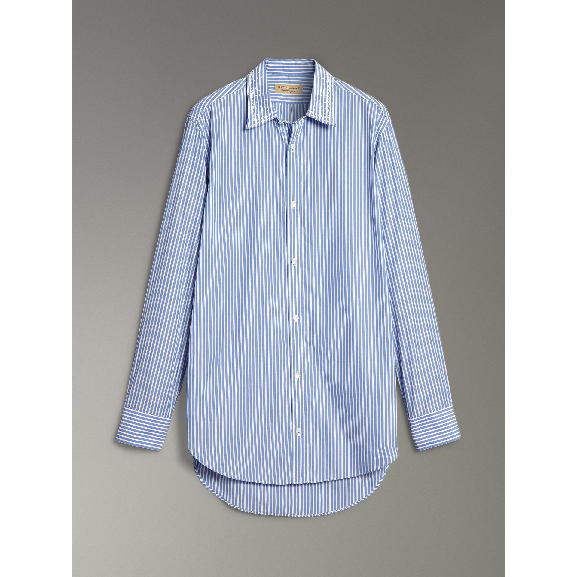 Embroidered Collar Striped Cotton Shirt in Mid Blue - Men | Burberry United States - gallery image 3