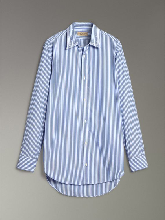 Embroidered Collar Striped Cotton Shirt in Mid Blue - Men | Burberry - cell image 3