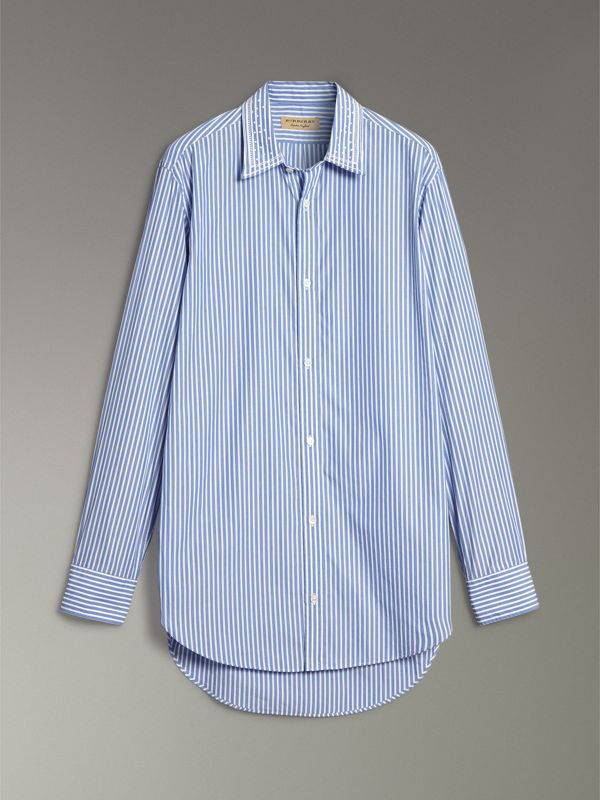 Embroidered Collar Striped Cotton Shirt in Mid Blue - Men | Burberry Singapore - cell image 3