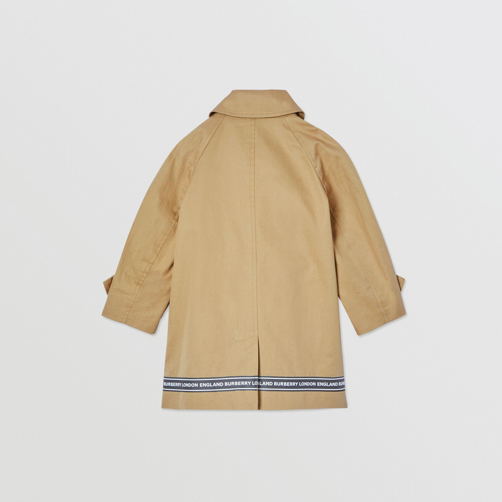 Logo Tape Cotton Car Coat in Honey - Children | Burberry - gallery image 3