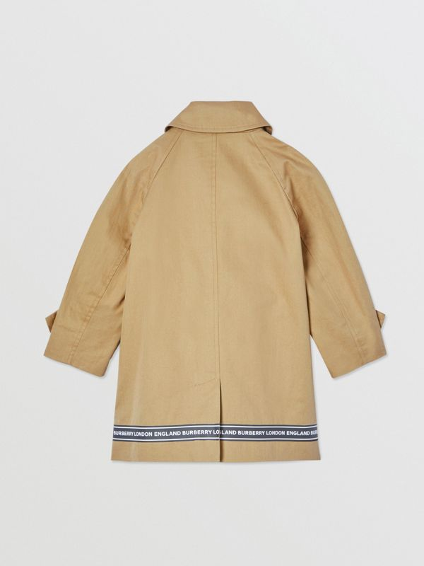 Logo Tape Cotton Car Coat in Honey - Children | Burberry - cell image 3