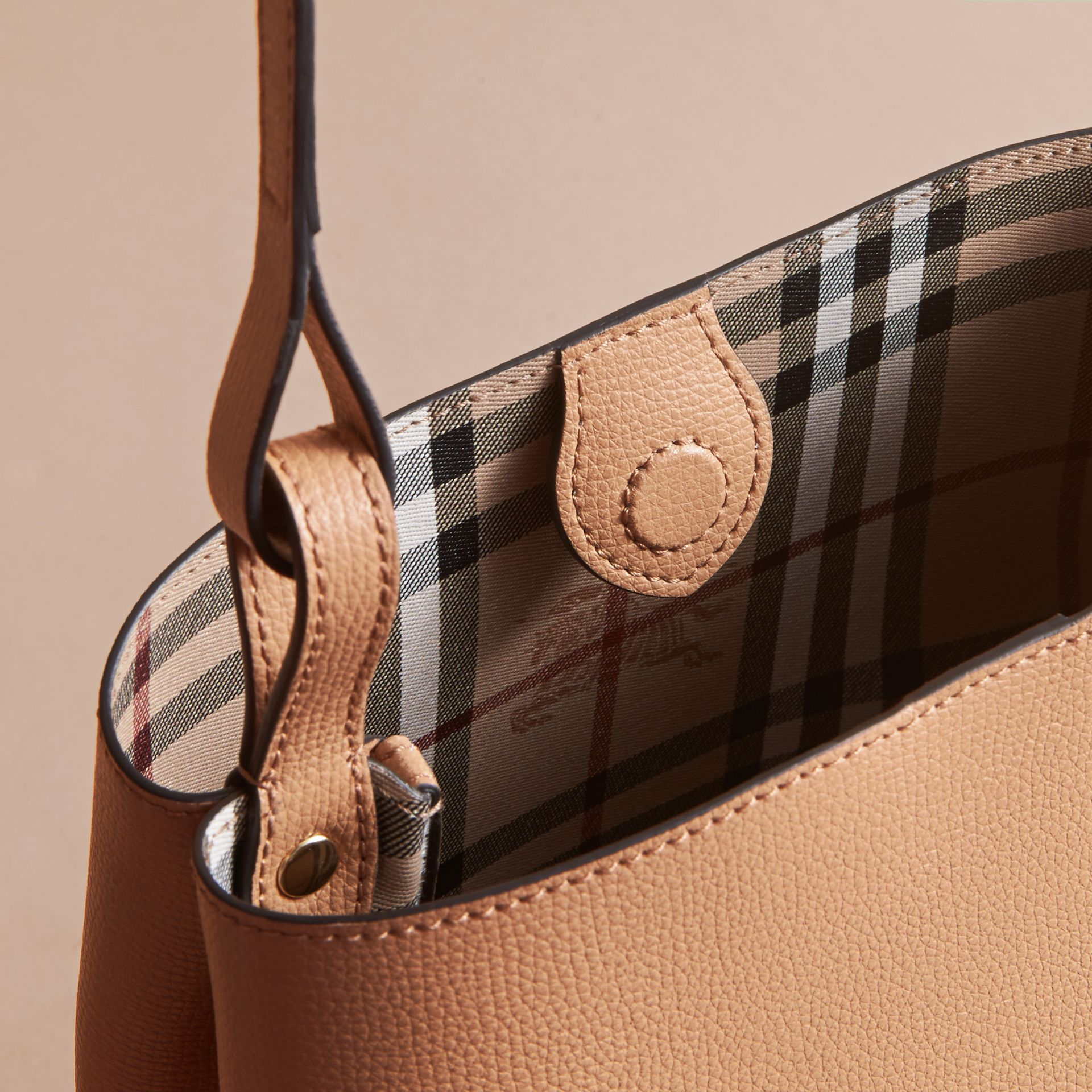 Leather and Haymarket Check Crossbody Bucket Bag in Mid Camel - Women | Burberry - gallery image 5