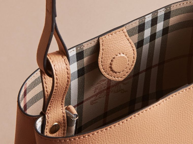 Leather and Haymarket Check Crossbody Bucket Bag in Mid Camel - Women | Burberry - cell image 4