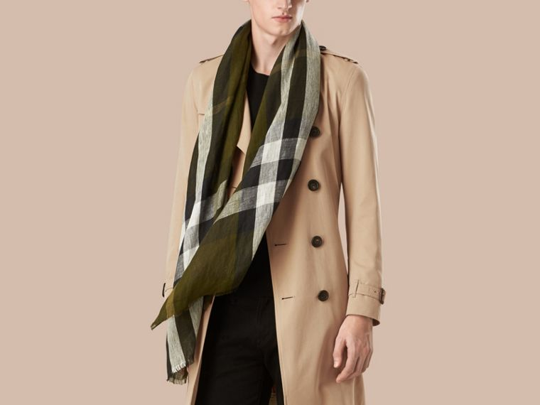 Olive green Check Crinkled Linen Scarf Olive Green - cell image 1