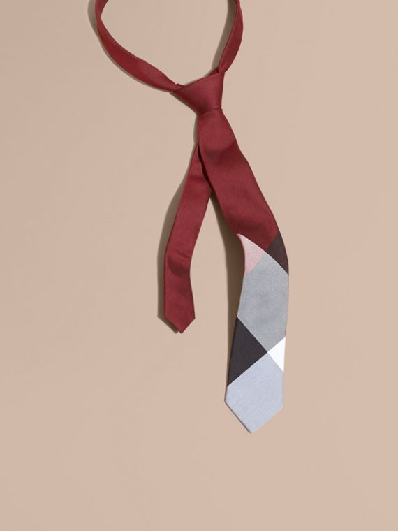 Slim Cut Check Silk Cotton Tie Deep Claret