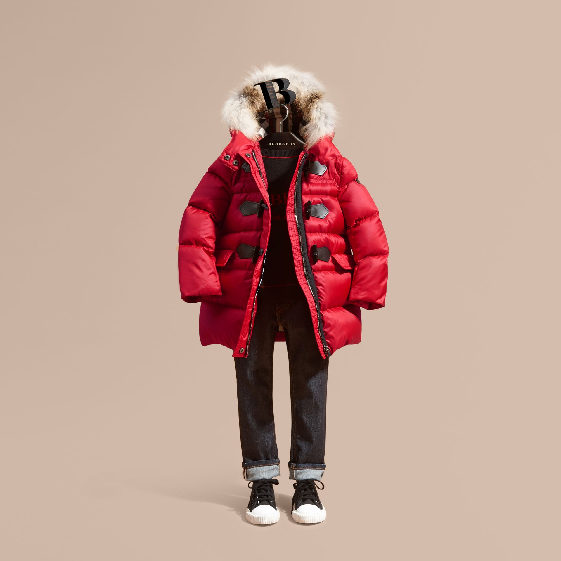 Parade red Down-filled Hooded Coat with Detachable Fox Fur Trim - gallery image 1
