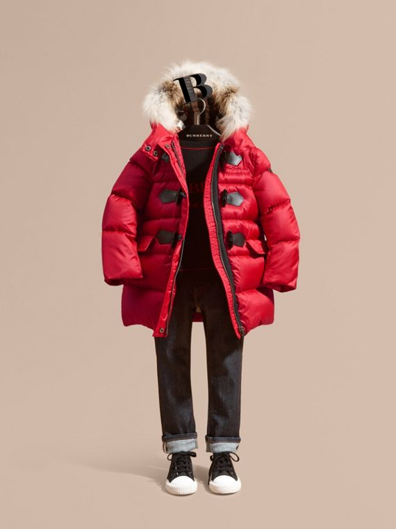 Down-filled Hooded Coat with Detachable Fox Fur Trim