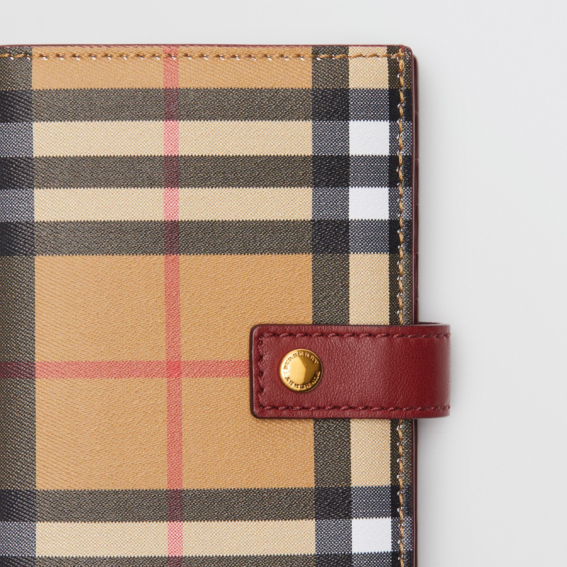 Vintage Check and Leather Folding Wallet in Crimson - Women | Burberry - gallery image 1