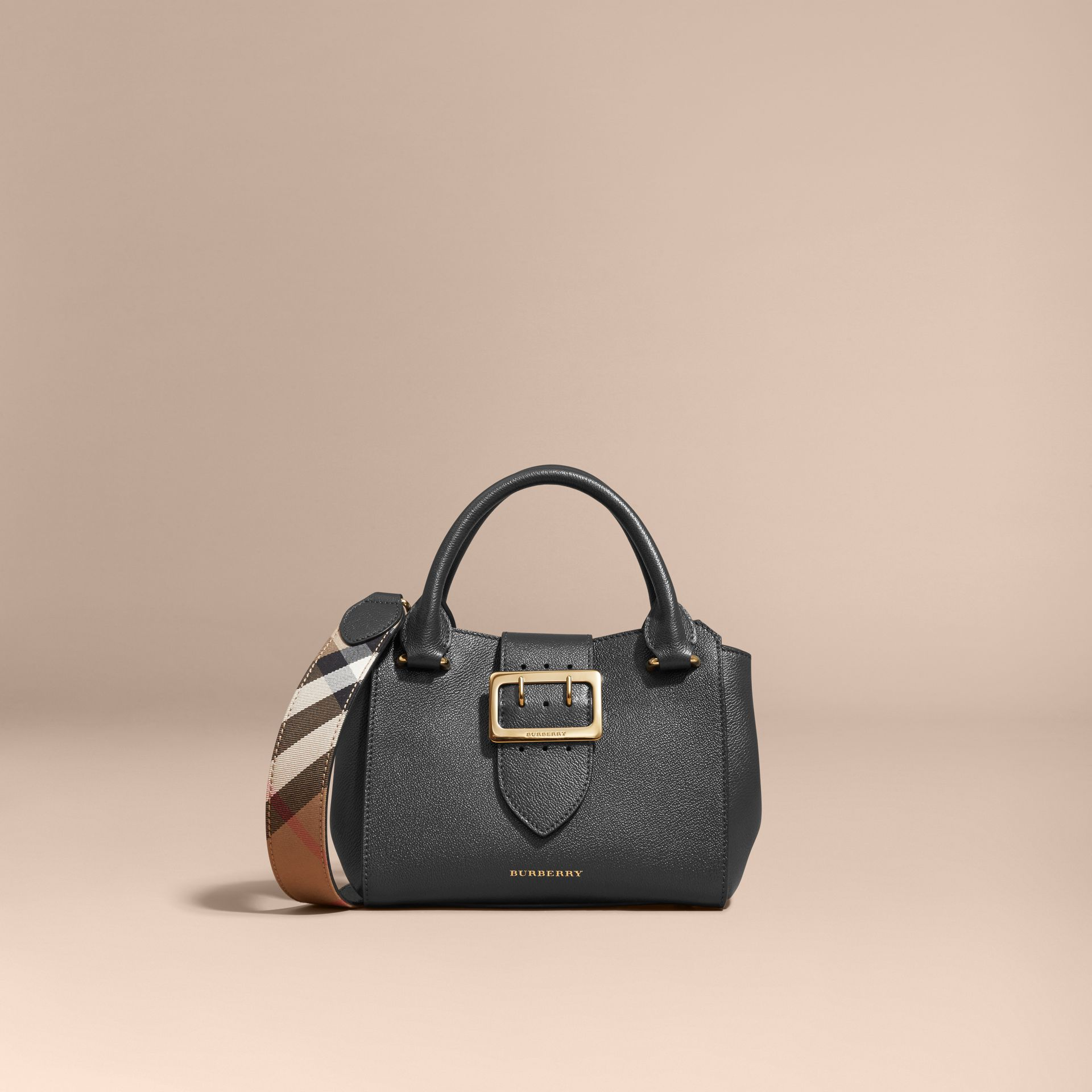 The Small Buckle Tote in Grainy Leather Black - gallery image 9