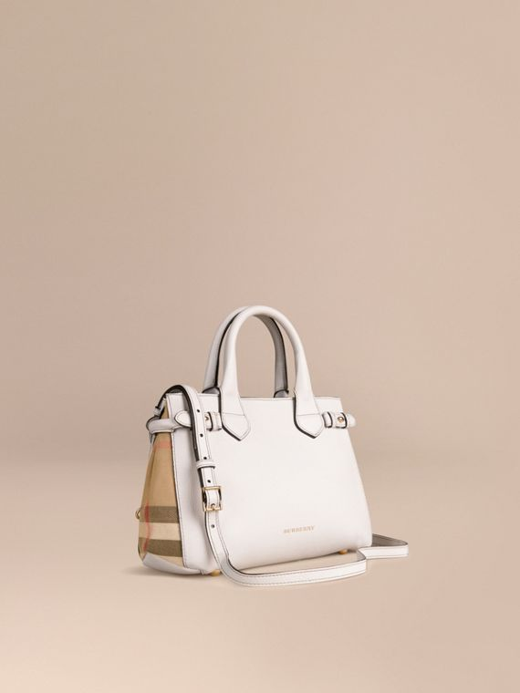 Petit sac The Banner en cuir et coton House check Naturel