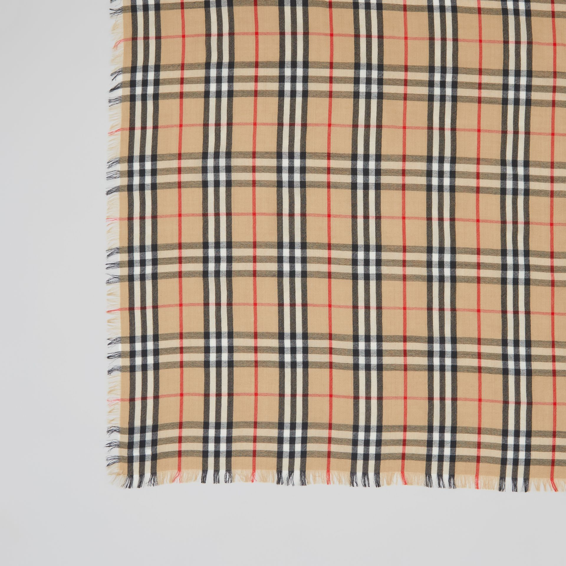 Vintage Check Lightweight Cashmere Scarf in Archive Beige | Burberry Australia - gallery image 1