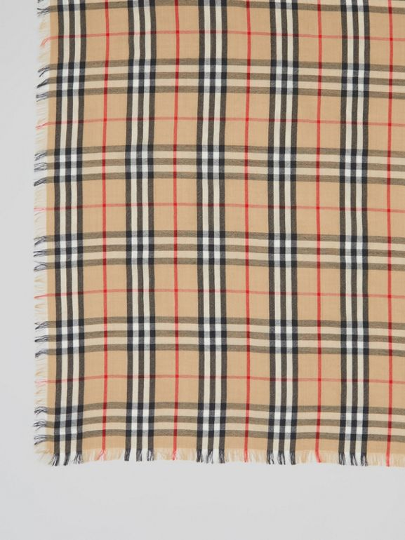Vintage Check Lightweight Cashmere Scarf in Archive Beige | Burberry Australia - cell image 1