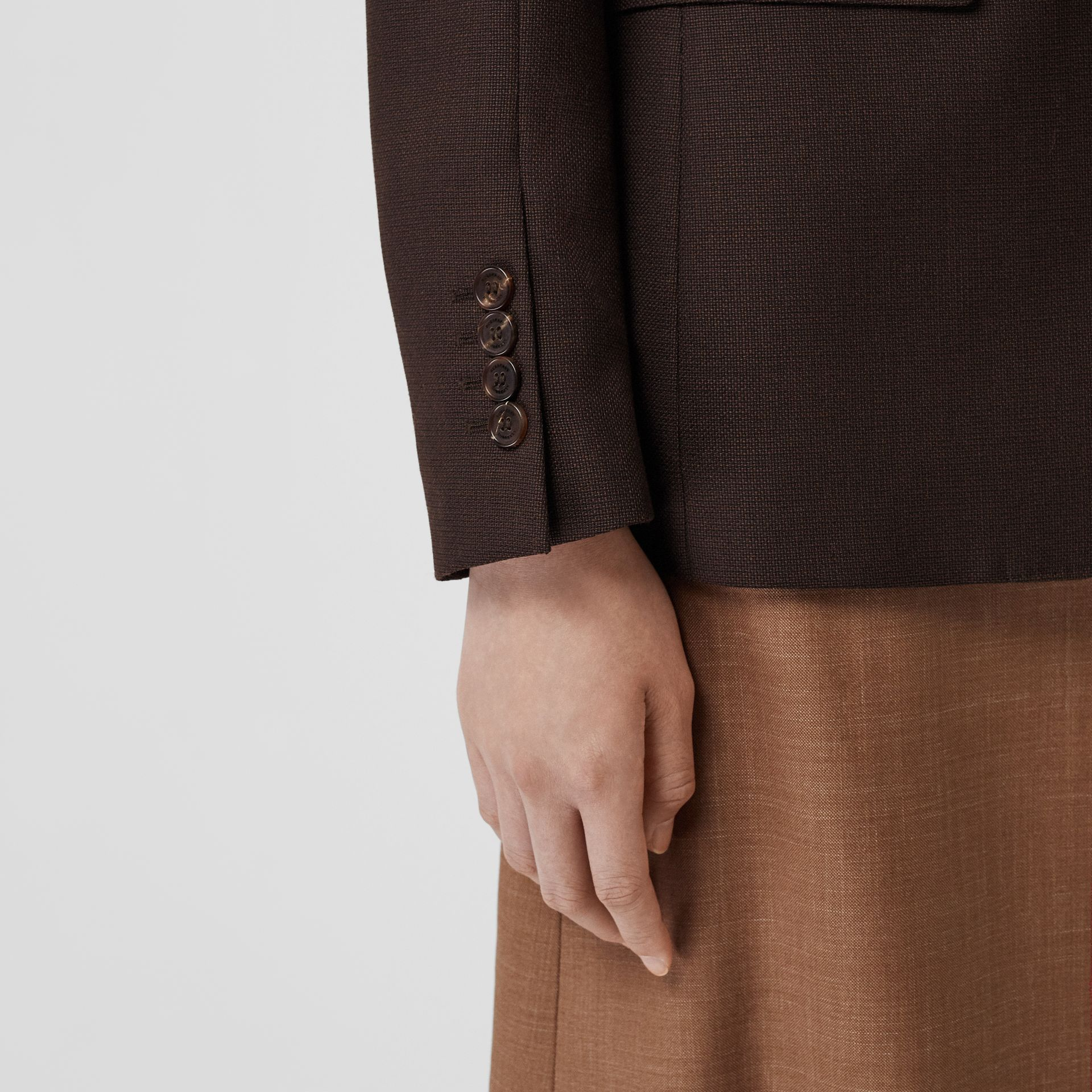 Silk Scarf Detail Wool Tailored Jacket in Coffee - Women | Burberry Singapore - gallery image 4