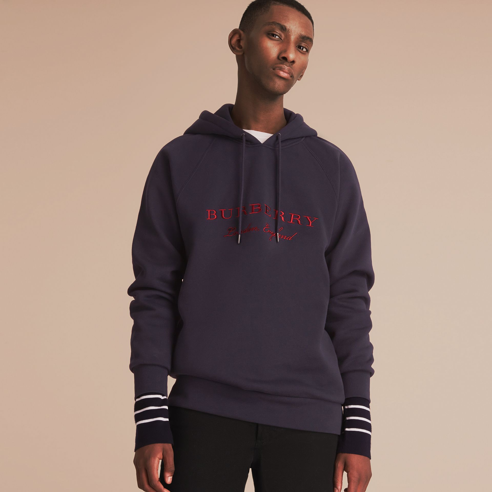 Embroidered Hooded Sweatshirt in Navy - gallery image 6
