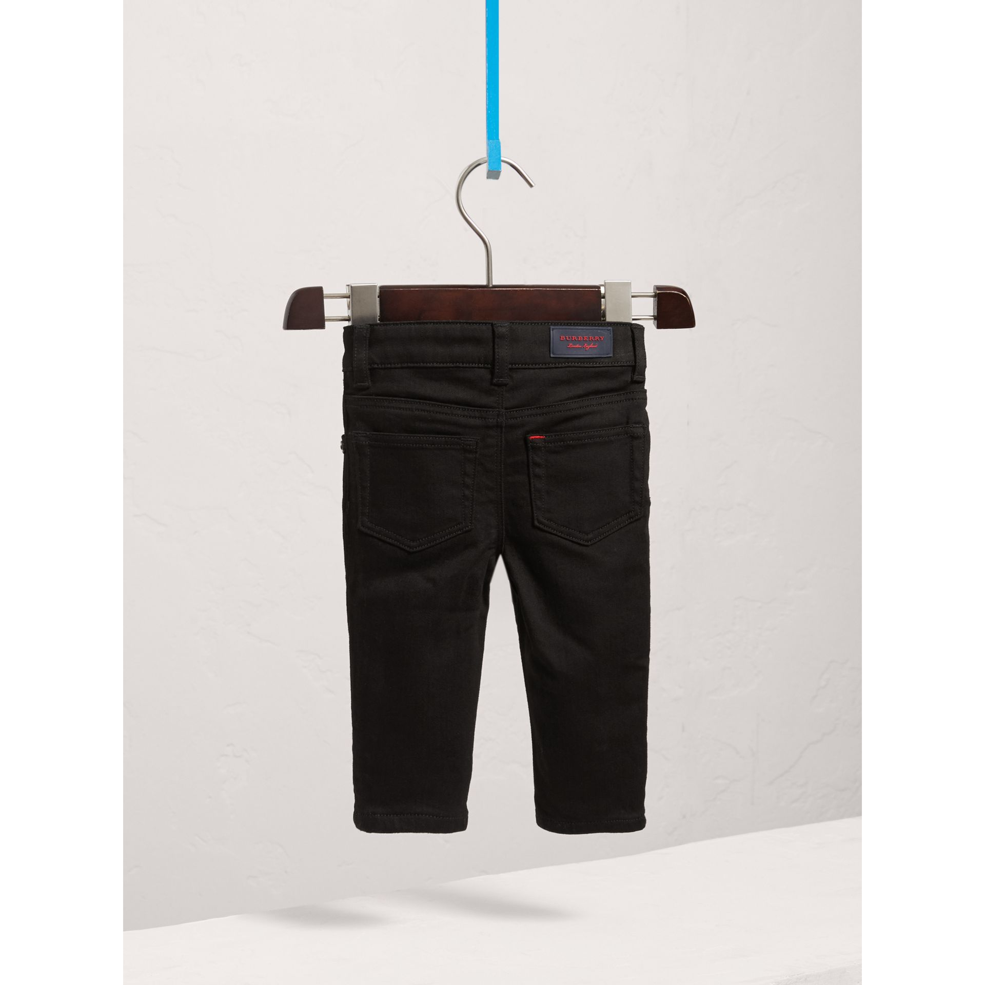 Skinny Fit Stretch Denim Jeans in Black - Children | Burberry United States - gallery image 3