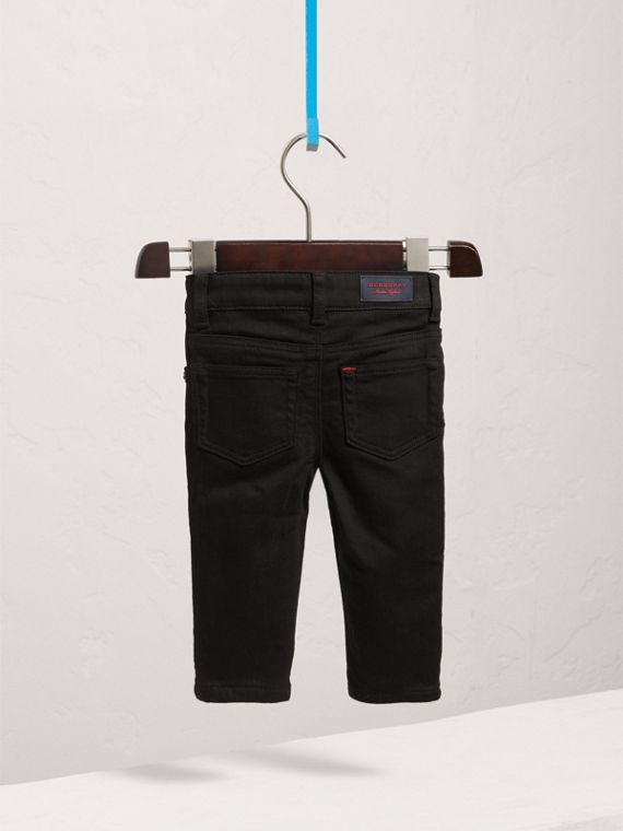 Skinny Fit Stretch Denim Jeans in Black | Burberry - cell image 3