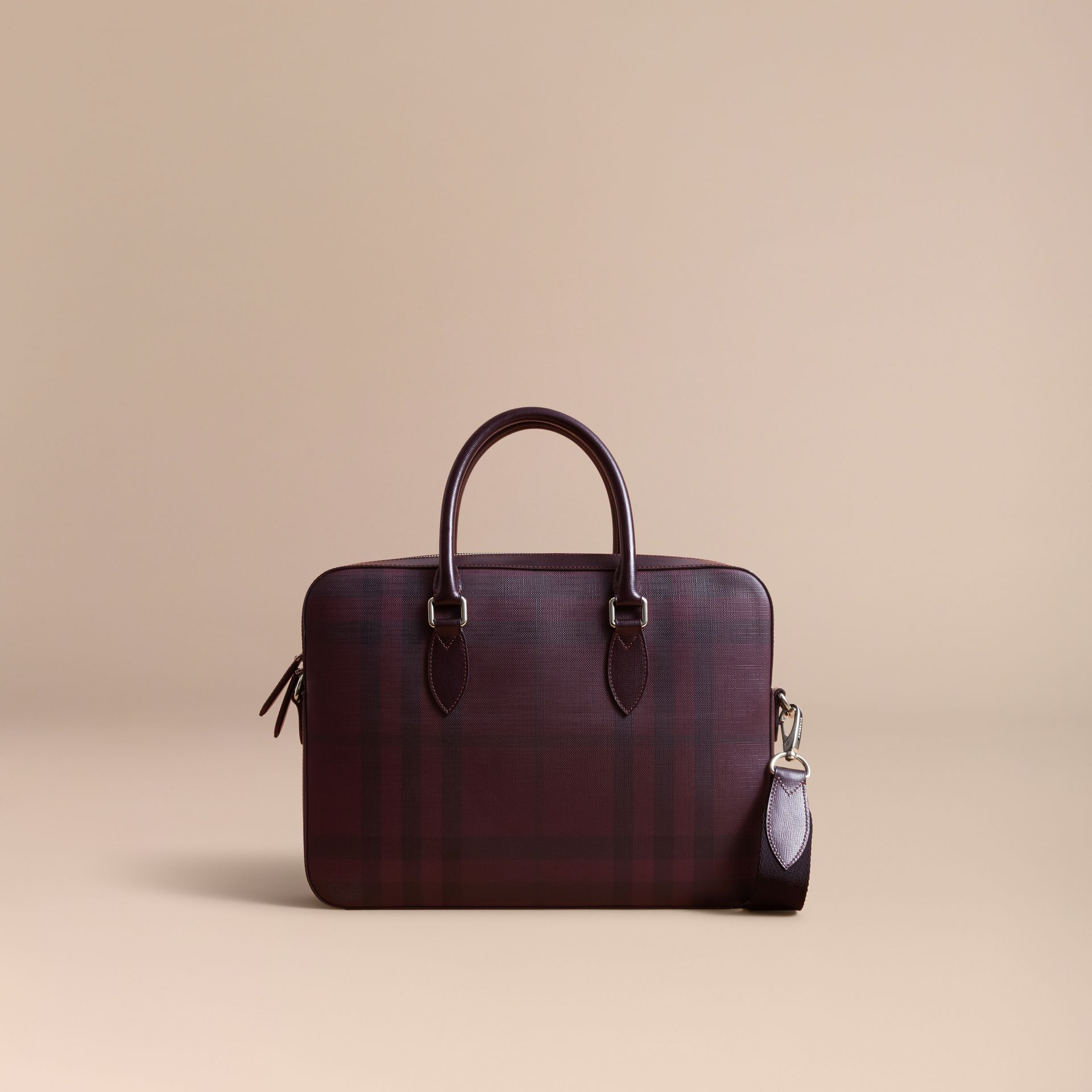 Medium Leather Trim London Check Briefcase in Deep Claret - Men | Burberry - gallery image 8