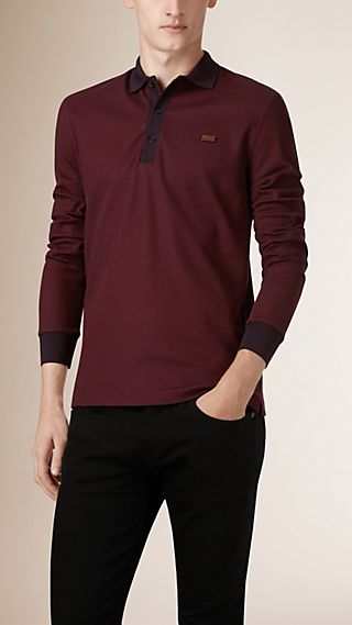 Long-Sleeved Cotton Piqué Polo Shirt