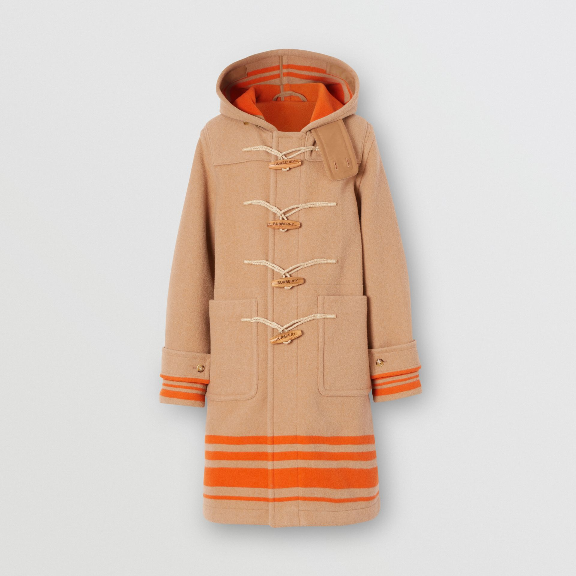Striped Double-faced Wool Duffle Coat in Camel/orange - Men | Burberry United Kingdom - gallery image 0