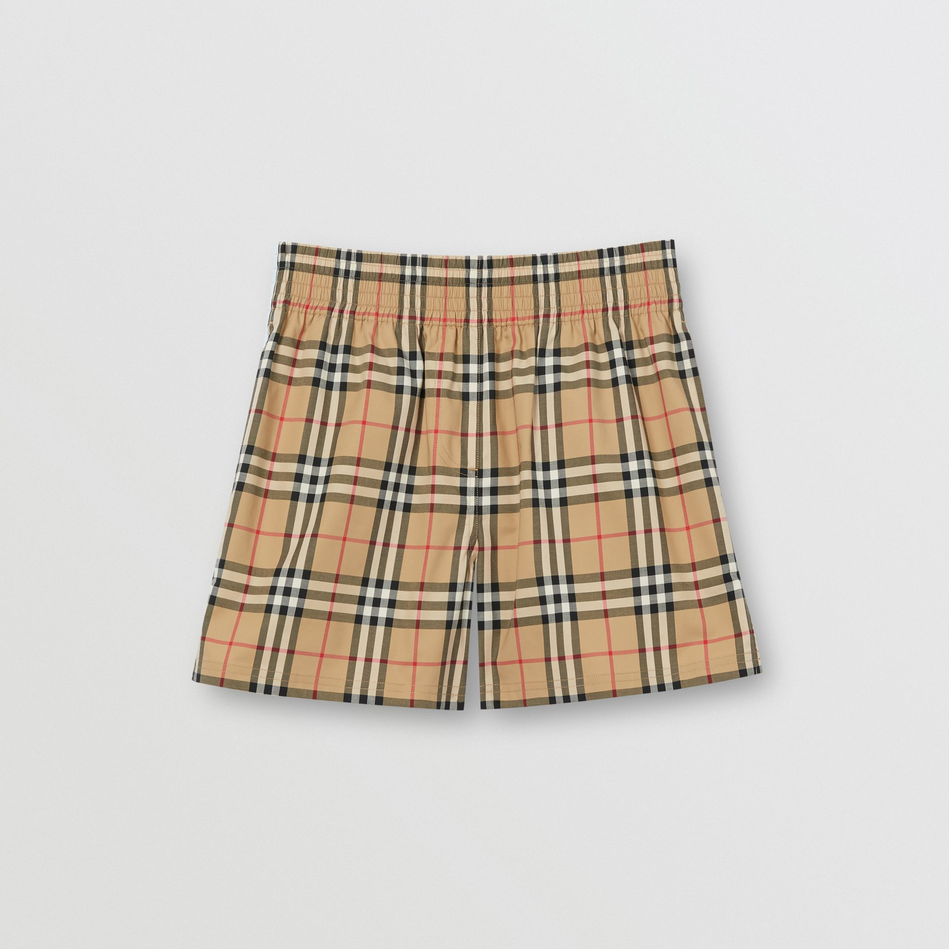 Vintage Check Stretch Cotton Shorts in Archive Beige - Women | Burberry United Kingdom - gallery image 3