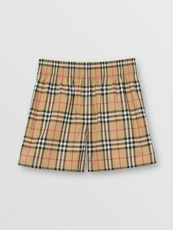 Vintage Check Stretch Cotton Shorts in Archive Beige - Women | Burberry United Kingdom - cell image 3