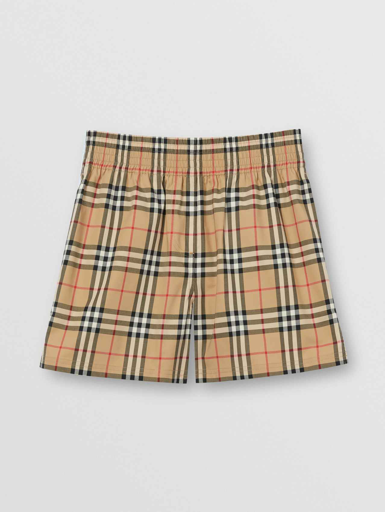 Vintage Check Stretch Cotton Shorts in Archive Beige