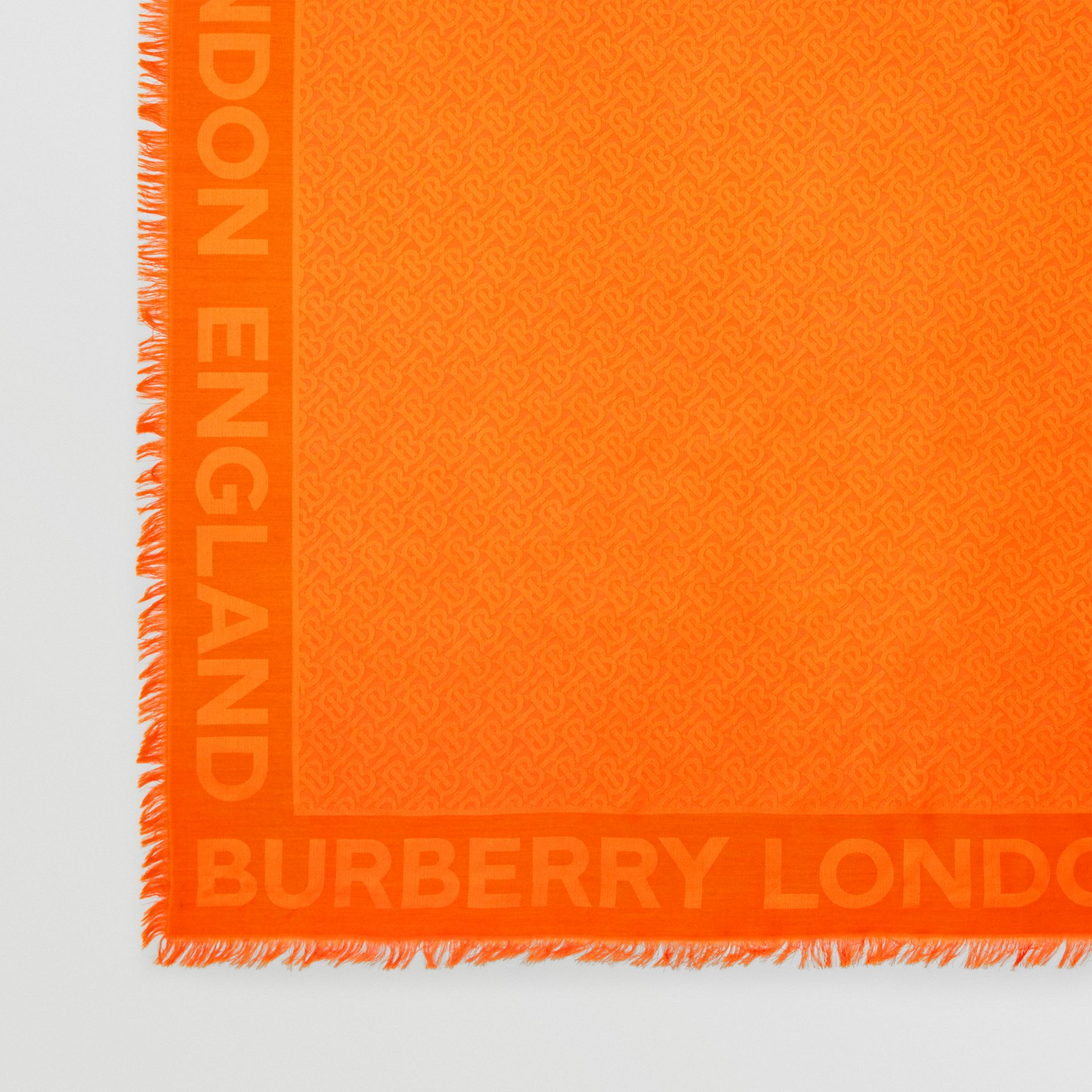 Monogram Silk Wool Jacquard Large Square Scarf in Orange | Burberry United Kingdom - gallery image 1