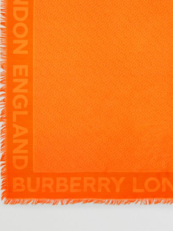 Monogram Silk Wool Jacquard Large Square Scarf in Orange | Burberry - cell image 1