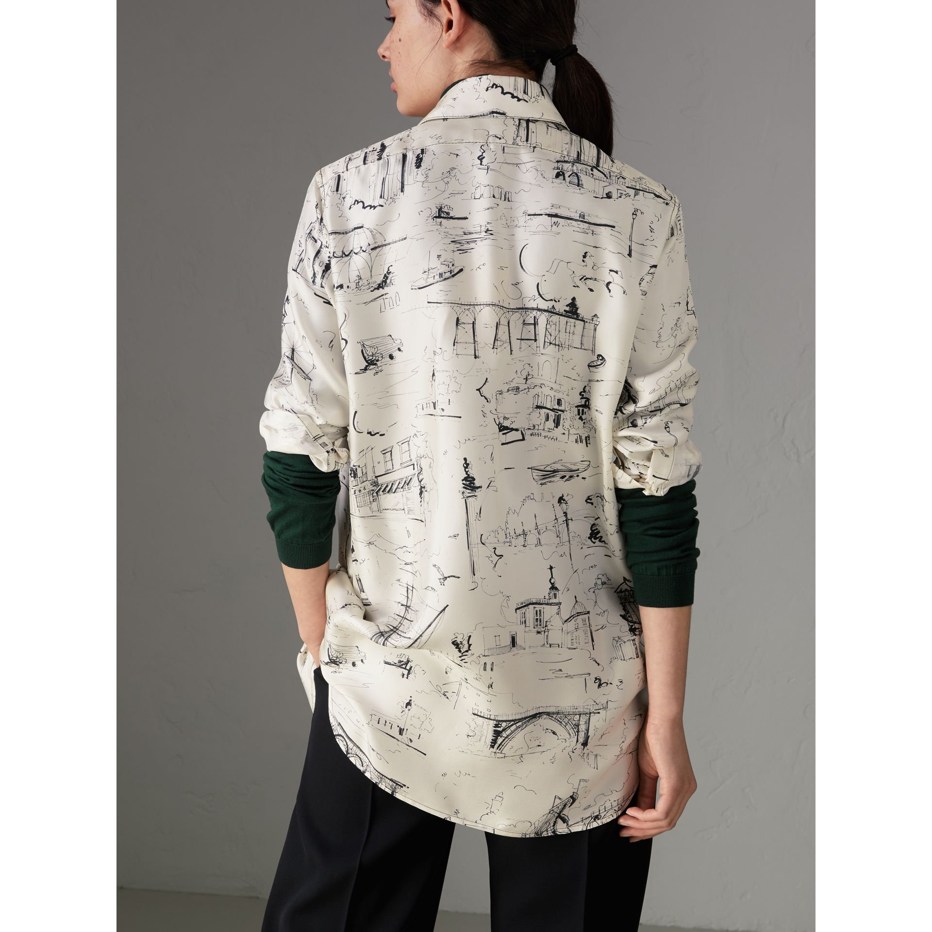 Landmark Print Silk Longline Shirt in Off White - Women | Burberry - gallery image 2
