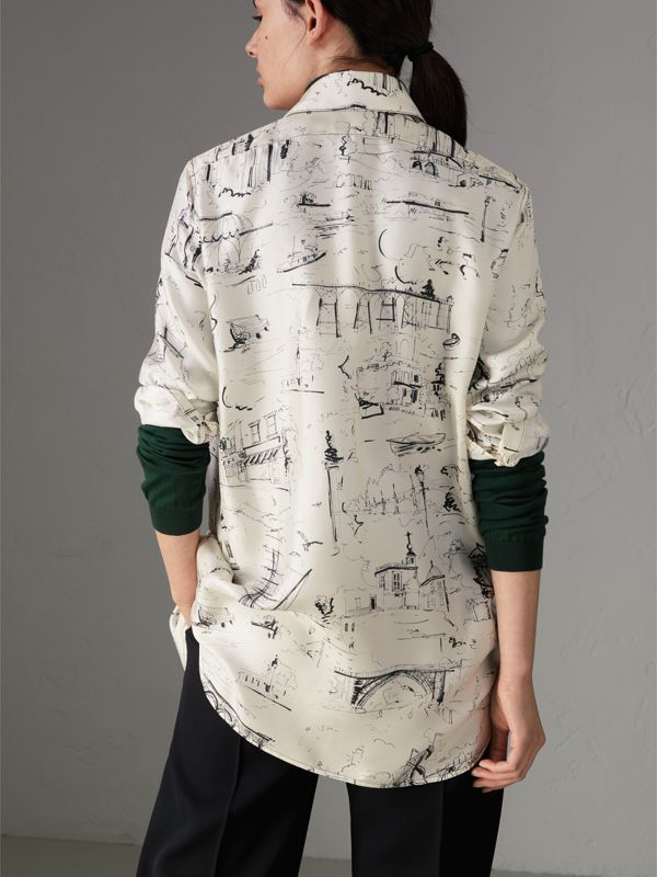 Landmark Print Silk Longline Shirt in Off White - Women | Burberry - cell image 2