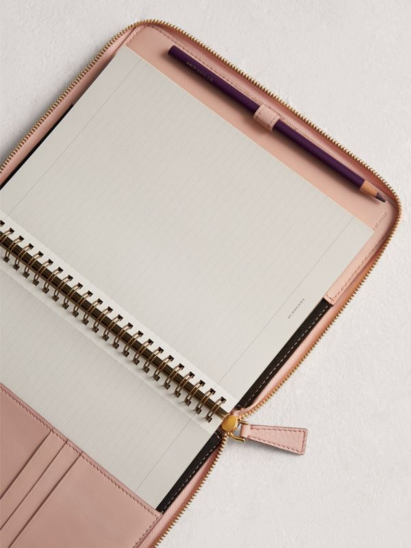Embossed Leather Ziparound A5 Notebook Case in Pale Ash Rose | Burberry - cell image 3