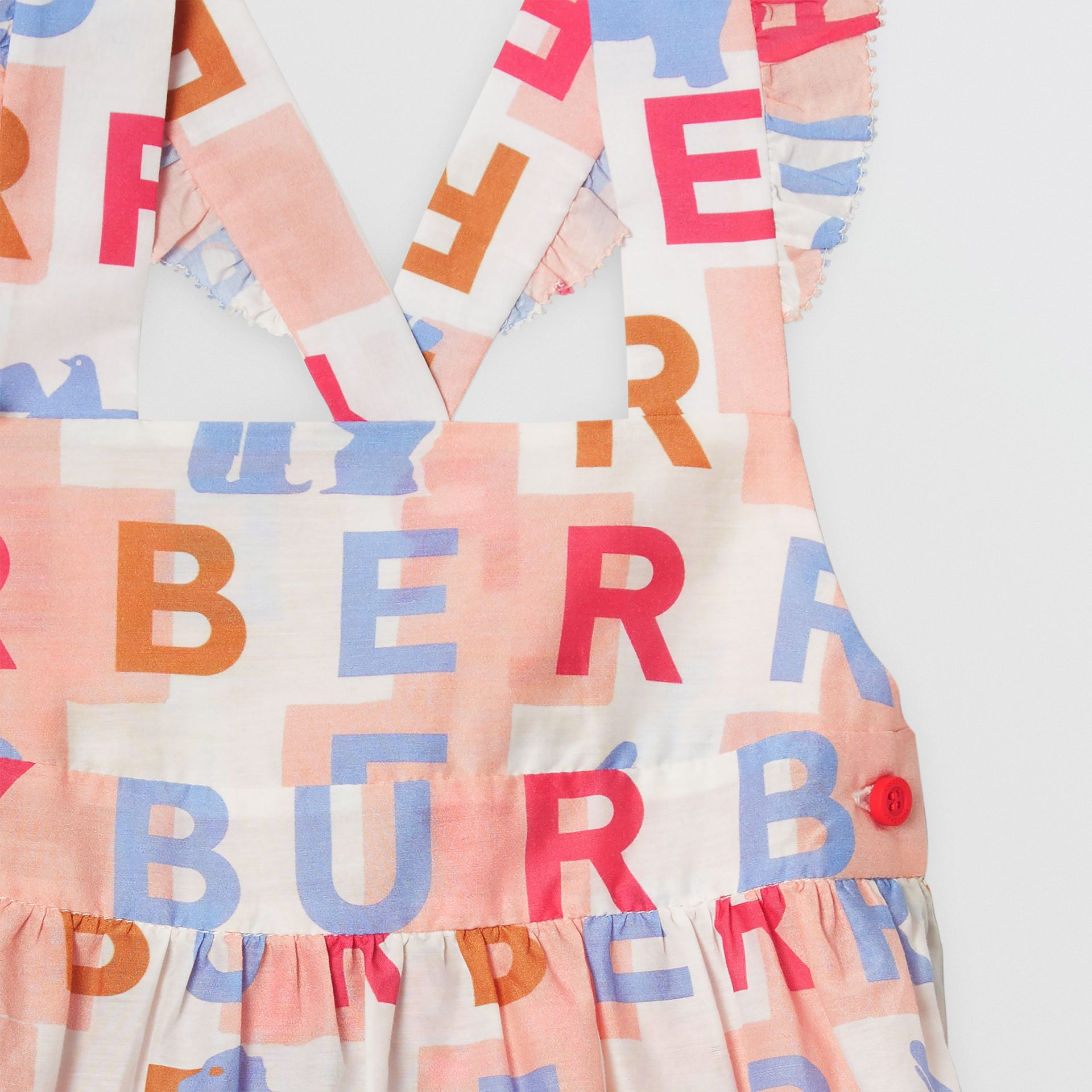 Ruffle Detail Logo Print Cotton Silk Dress in Pale Rose - Children | Burberry Hong Kong - gallery image 4