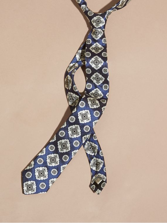 Slim Cut Jacquard Silk Tie Bright Steel Blue