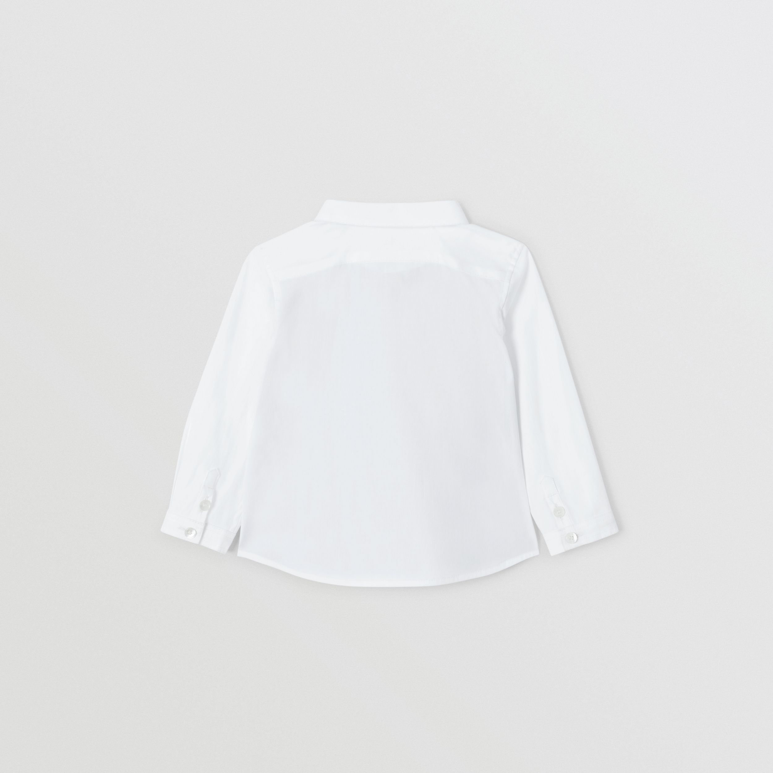 Icon Stripe Panel Stretch Cotton Shirt in White - Children | Burberry - 4
