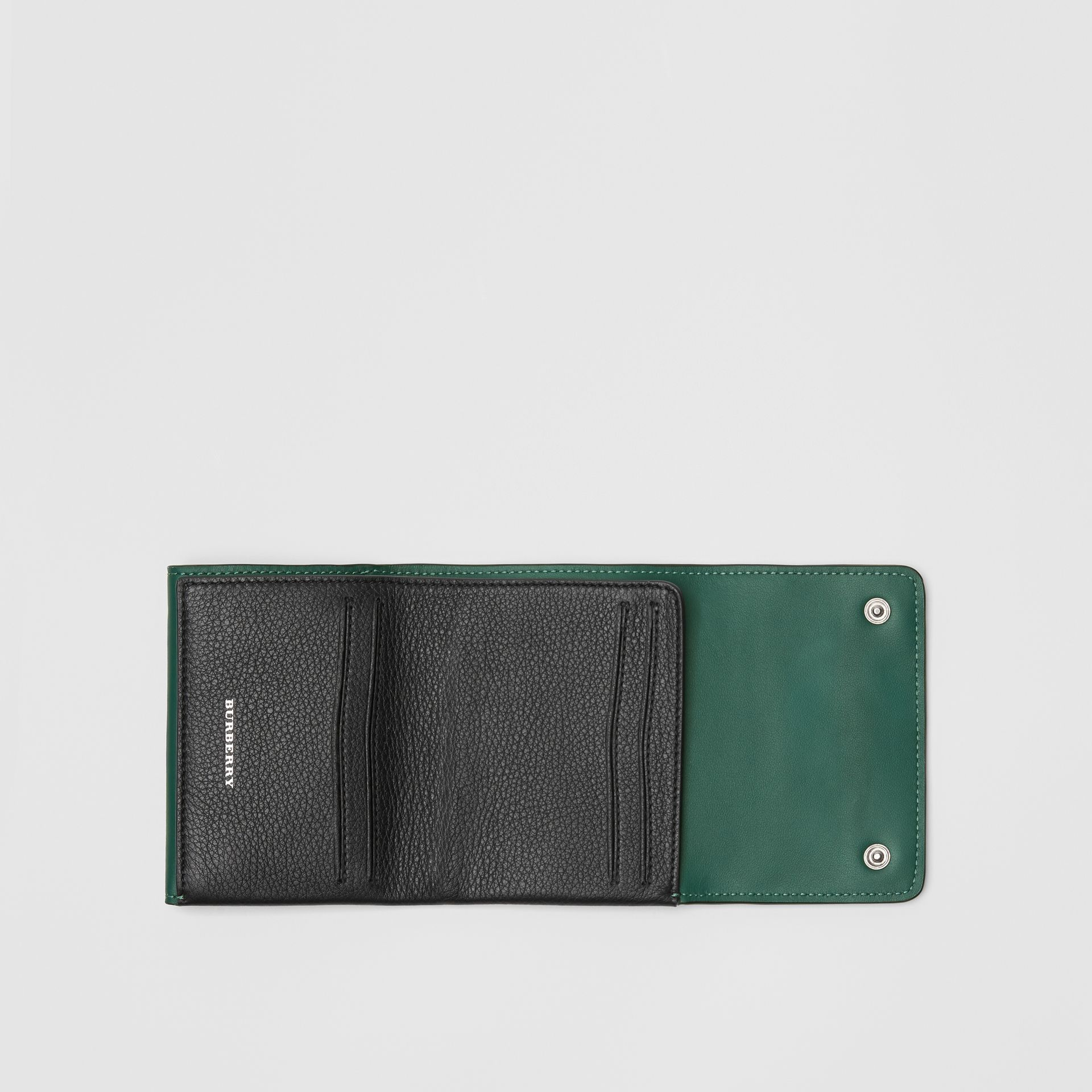 Small Leather Folding Wallet in Black - Women | Burberry - gallery image 3
