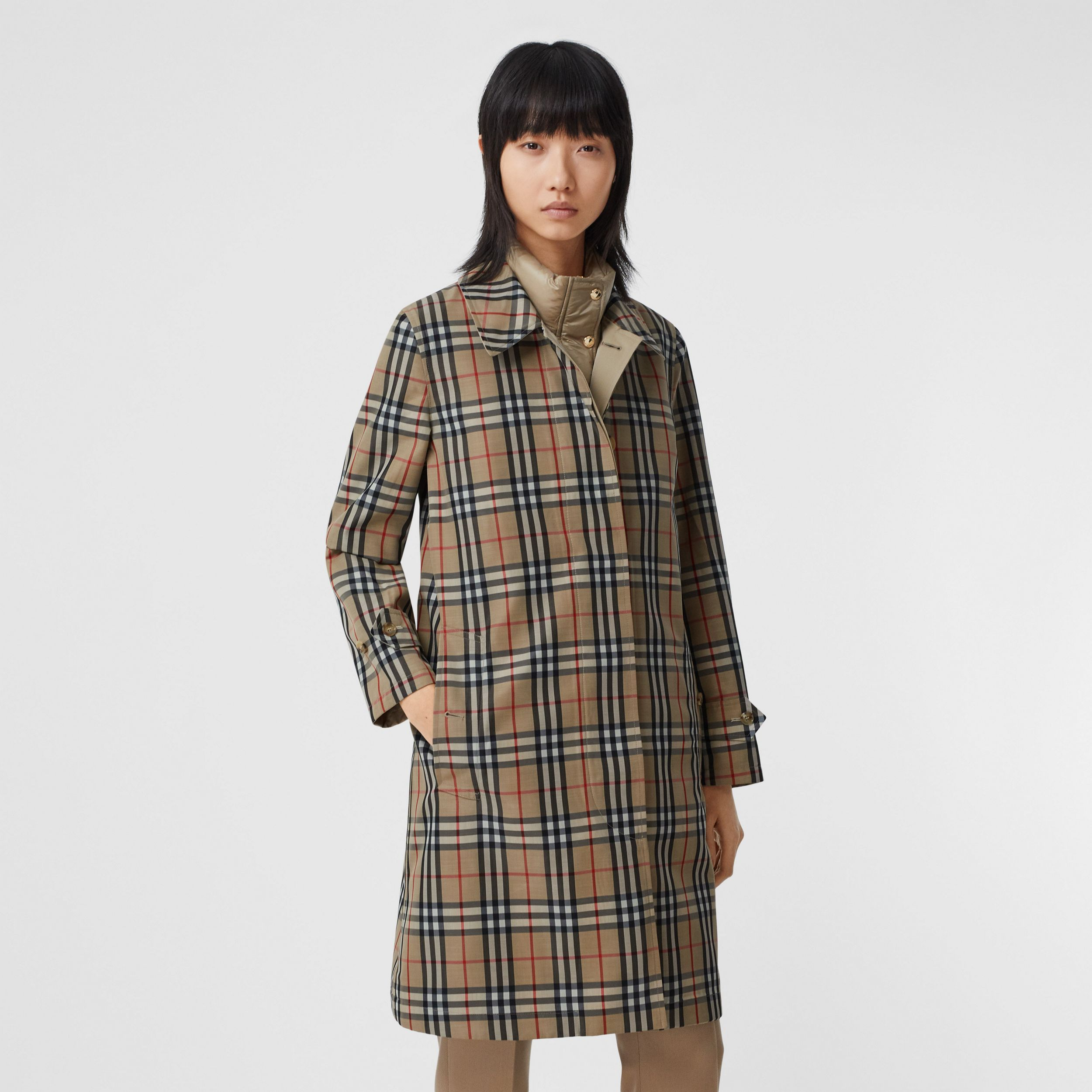 Reversible Cotton and Vintage Check Car Coat in Honey - Women | Burberry - 2