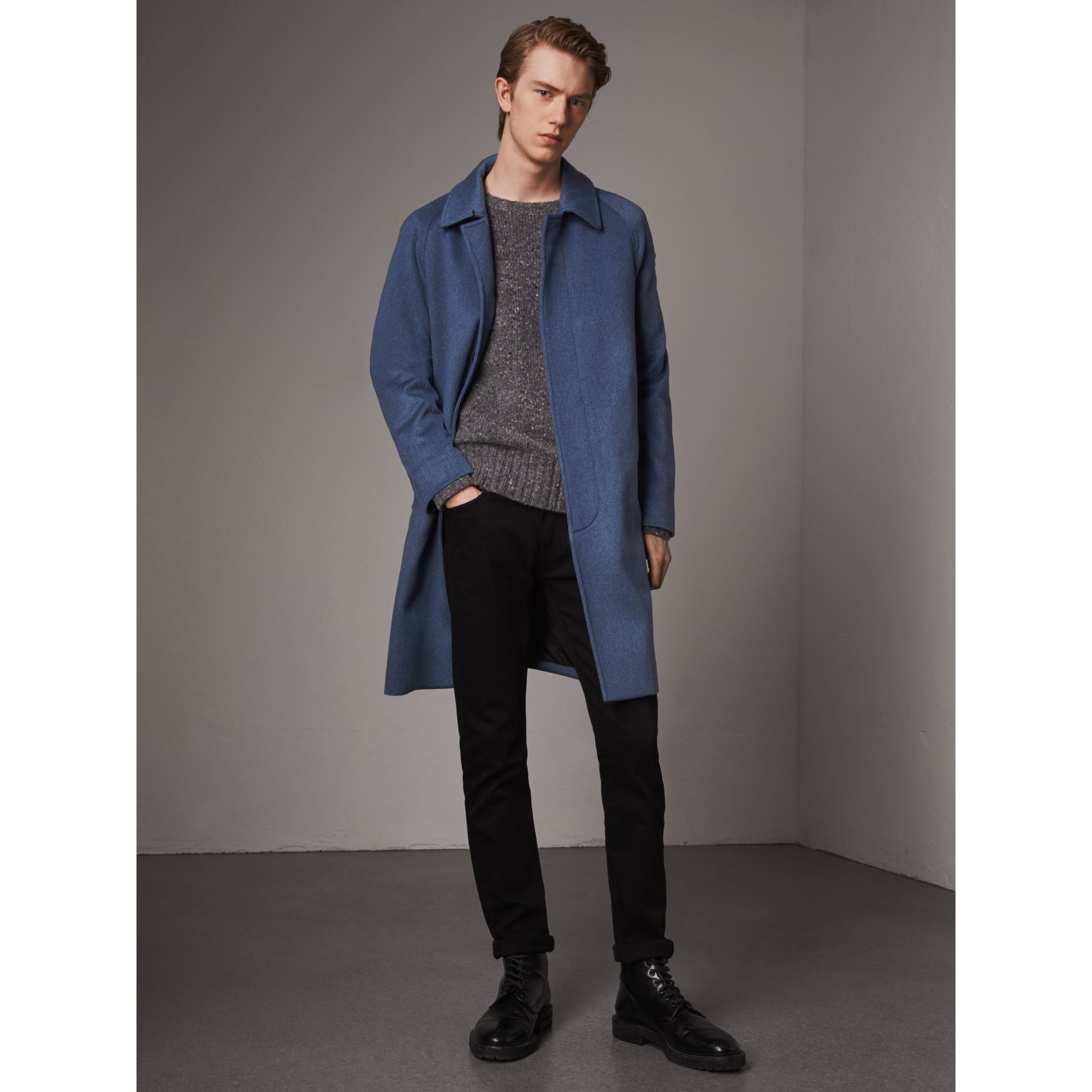 Cashmere Car Coat in Steel Blue Melange - Men | Burberry Singapore - gallery image 1