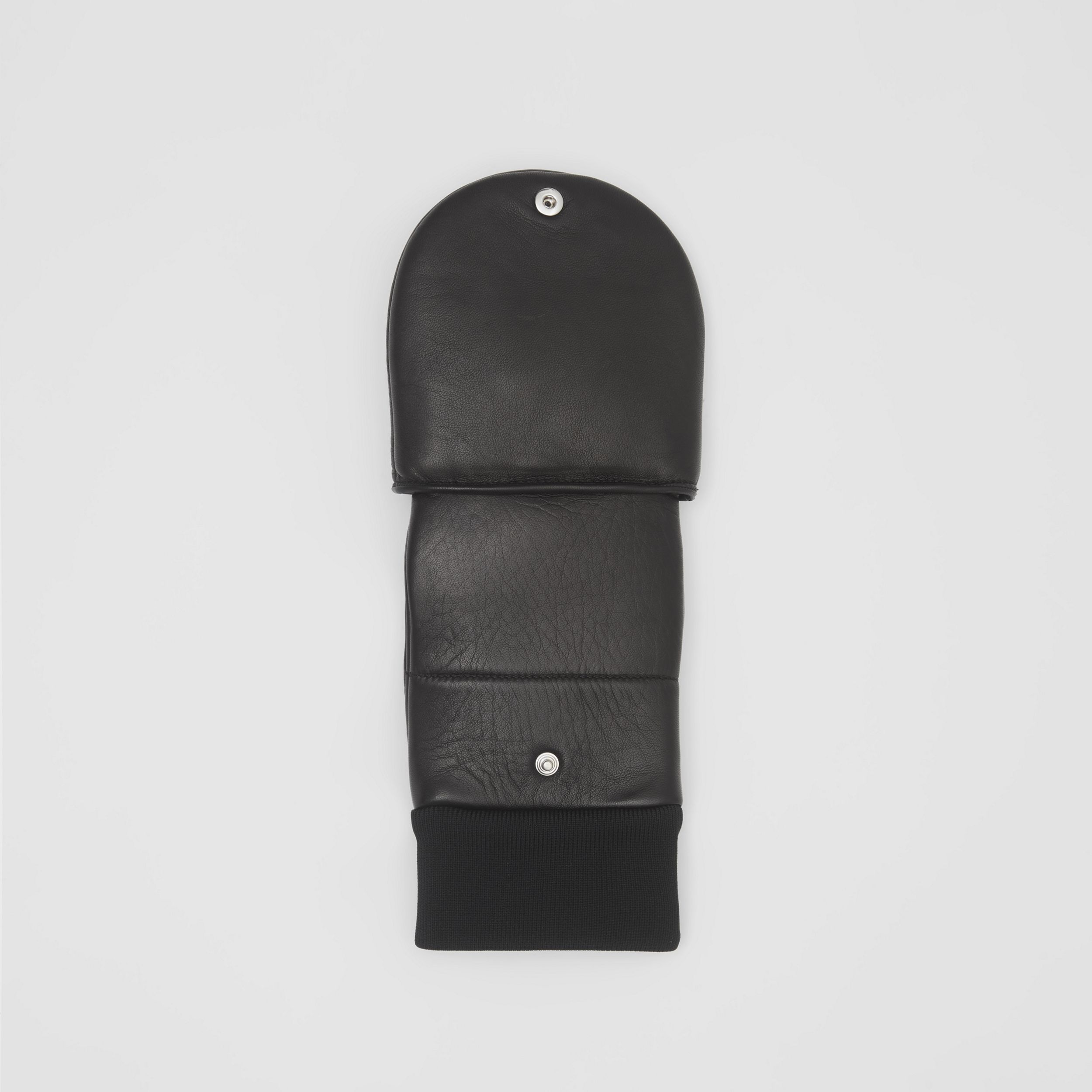 Logo Appliqué Lambskin Mittens in Black | Burberry - 4