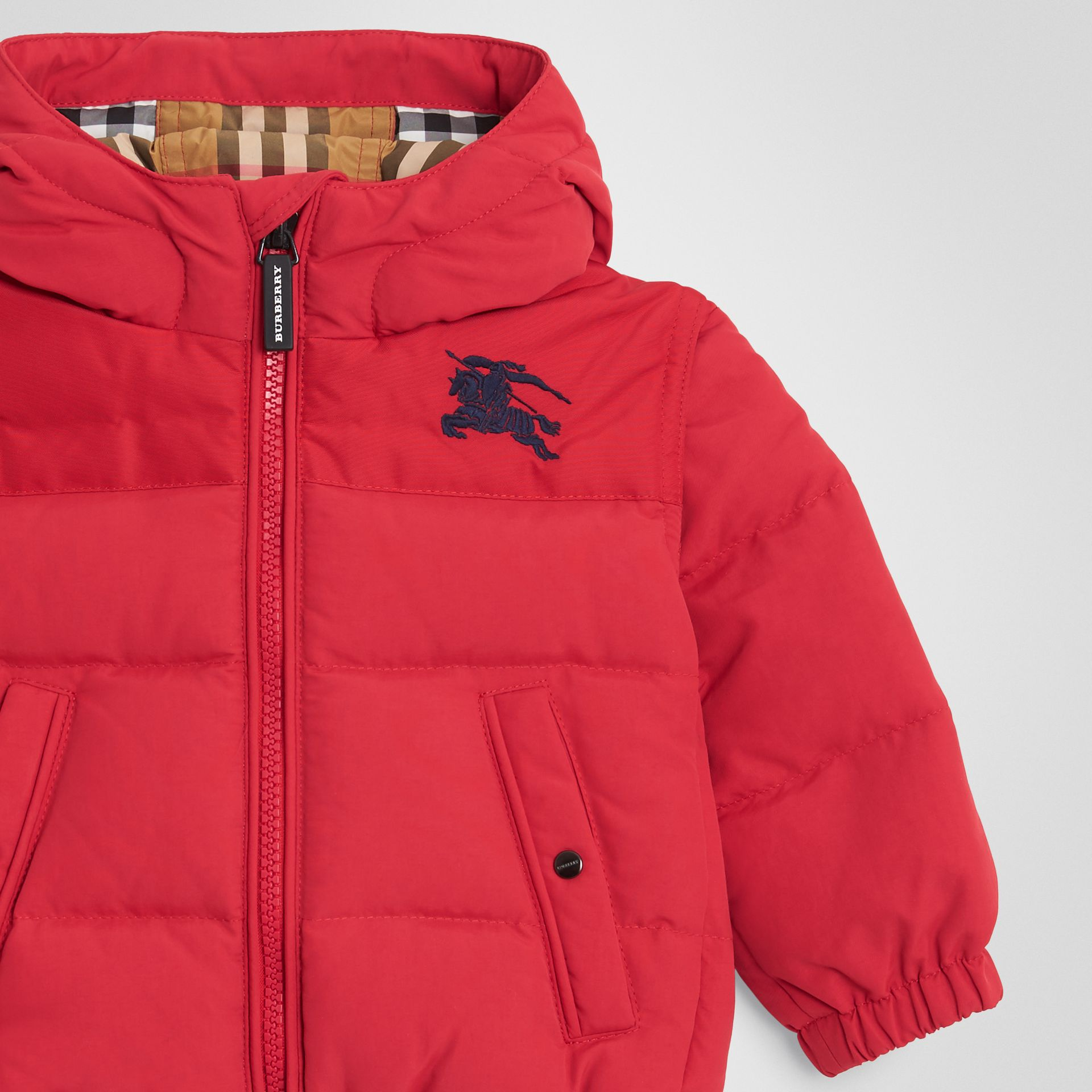 Down-filled Hooded Puffer Jacket in Bright Red - Children | Burberry United Kingdom - gallery image 4