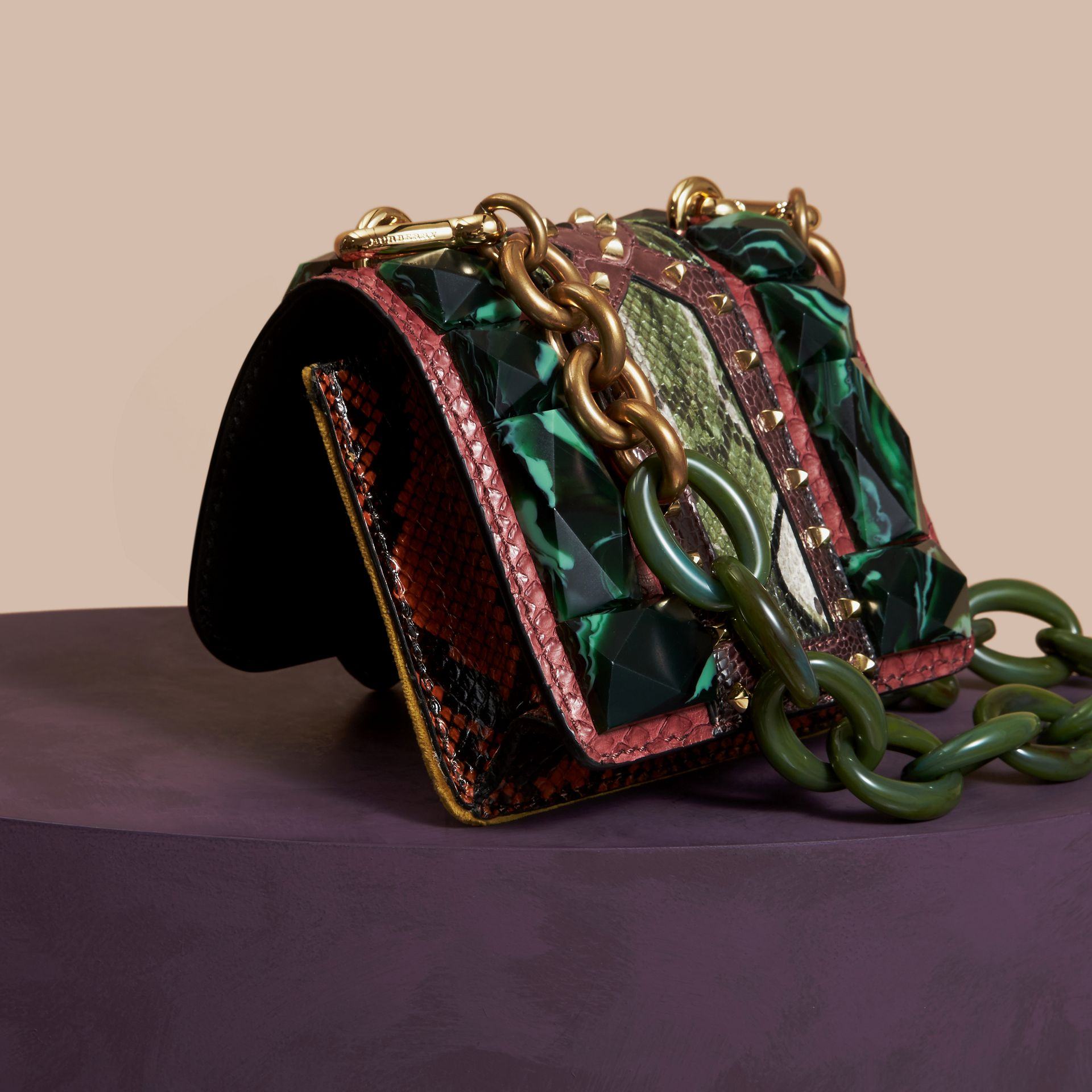 The Mini Square Buckle Bag in Velvet and Snakeskin Bordeaux - gallery image 4